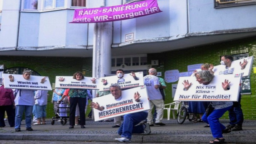Mieterprotestaktion am Hansaufer
