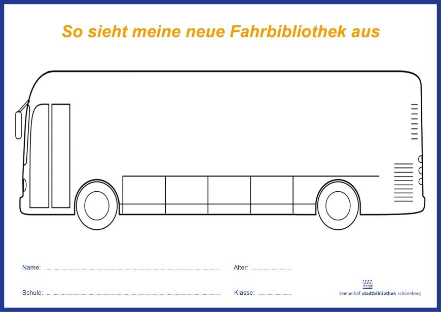 Malbogen-Vorlage: Bücherbus