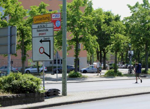 Rubensstraße bis Oktober Baustelle