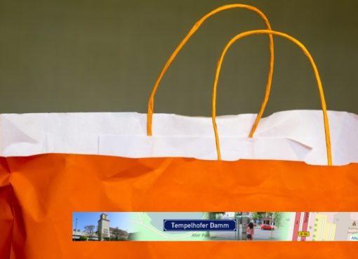 Einkaufstasche mit ANZEIGIO-eStreet-Banner