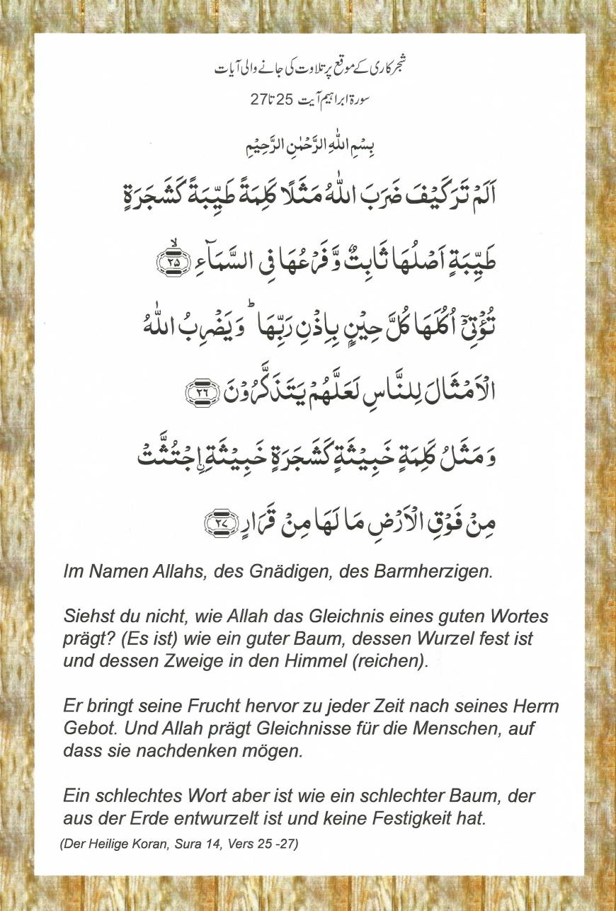Der Heilige Koran, Sura 14, Vers 25-27