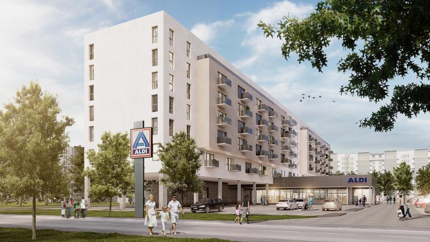 ALDI-Markt mit Wohnbebauung