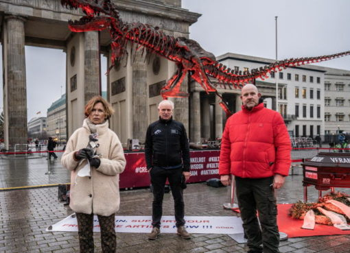 Alarmstufe Dunkelrot: Mahnwache mit original T-Rex-Skelett