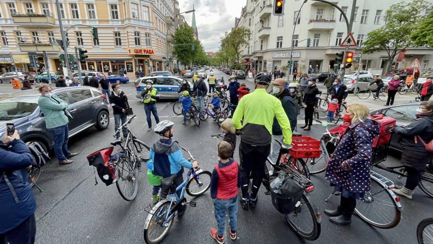 Fahrraddemo in Schöneberg